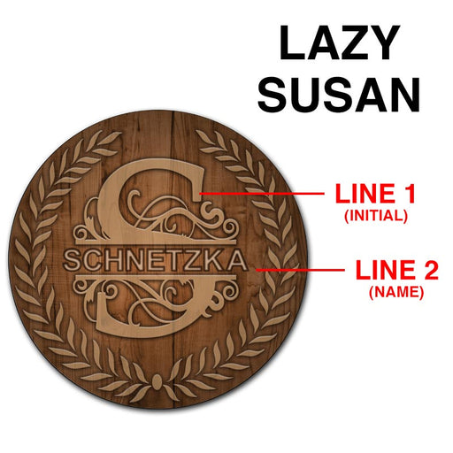ADD YOUR NAME Lazy Susan - DARK WOOD with Leaves - 3 Different Sizes - Table Top