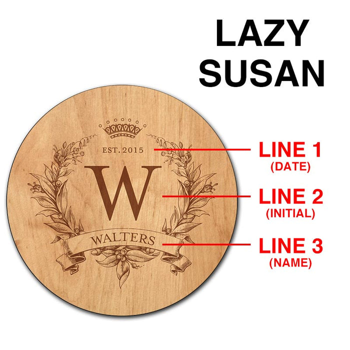 ADD YOUR NAME Lazy Susan - MONOGRAM - 3 Different Sizes - Table Top