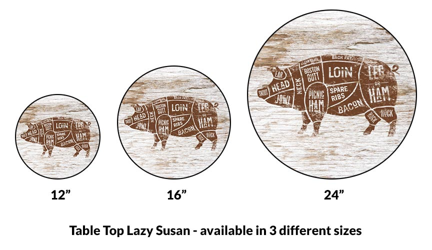 Lazy Susan - PORK BUTCHER DIAGRAM - 3 Different Sizes - For Kitchen Table Top