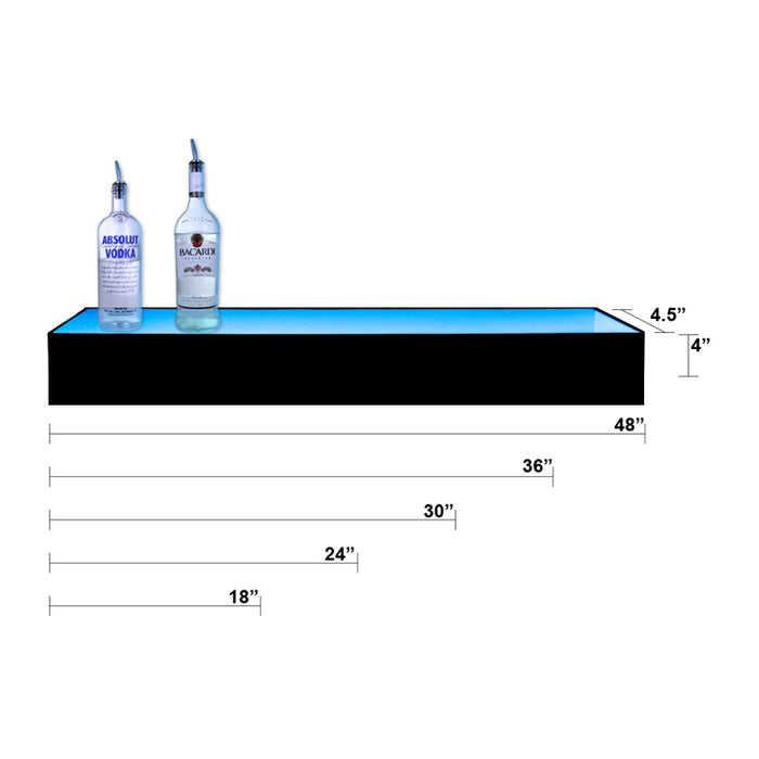 BarConic®  Acrylic Bottle Display Shelf - 1 Tier - Multi Colored Lights - Several Lengths