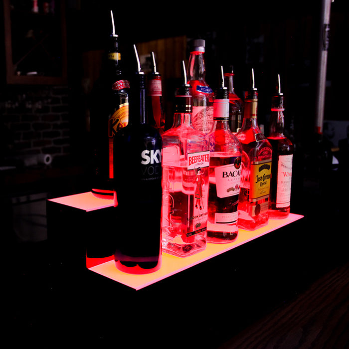 BarConic®  Acrylic Bottle Display Shelf - 2 Tier - Multi Colored Lights - Several Lengths