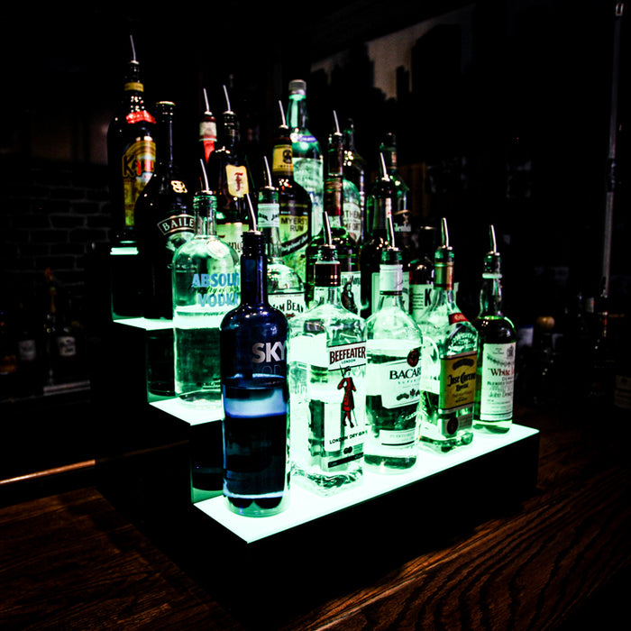 BarConic®  Acrylic Bottle Display Shelf - 4 Tier - Multi Colored Lights - Several Lengths