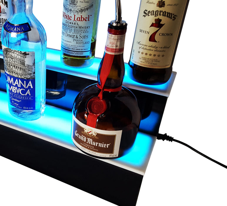 "BarConic® 48"" 2 Step LED Liquor Bottle Display Shelf - Multi Colored Lights"