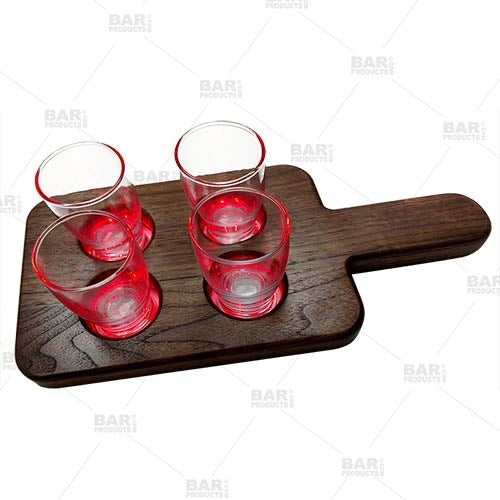 LED Beer Flight Tray - Walnut - Two Different Colors