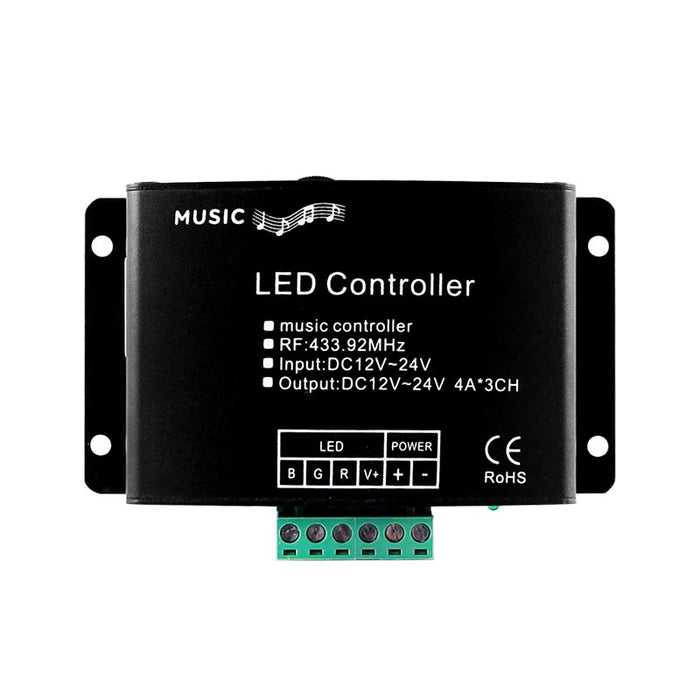LED RGB Music & Audio Controller - RF Technology - 18-Key Remote