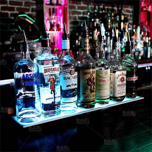 BarConic® LED Liquor Bottle Display Shelf - Low Profile - 1 Step - Black - Multi Colored Lights