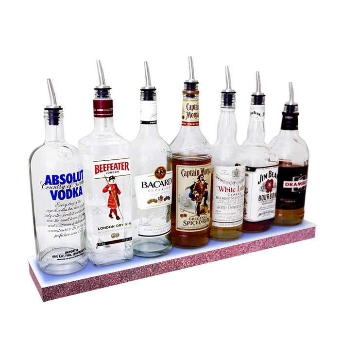 BarConic® LED Liquor Bottle Display Shelf - Low Profile - 1 Step - Aged Bronze - Several Lengths