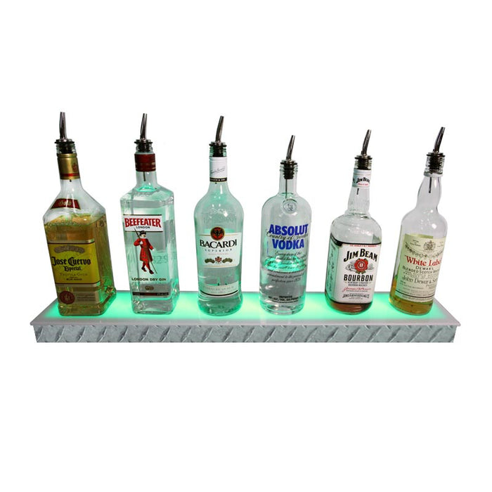 BarConic® LED Liquor Bottle Display Shelf - Low Profile - 1 Step - Diamond Plate Print - Several Lengths
