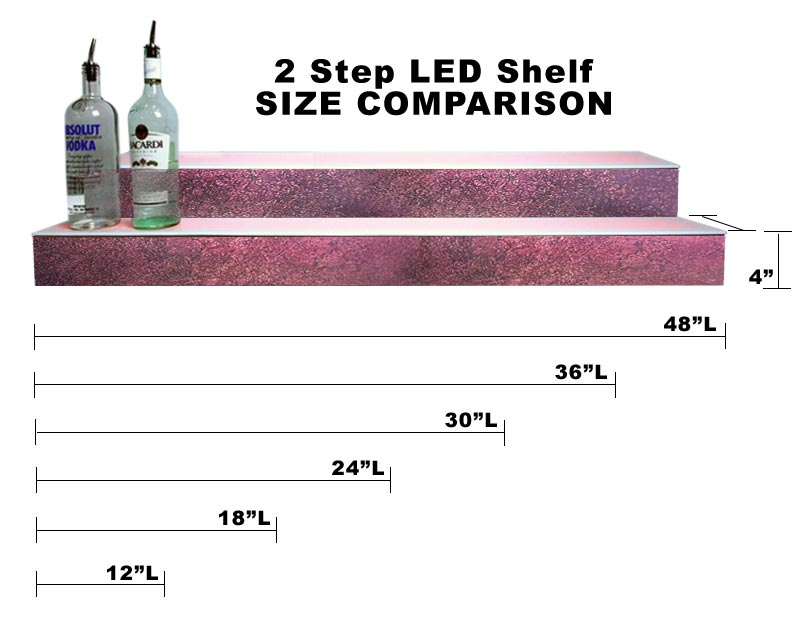 BarConic® LED Liquor Bottle Display Shelf - 2 Steps - Aged Bronze - Several Lengths