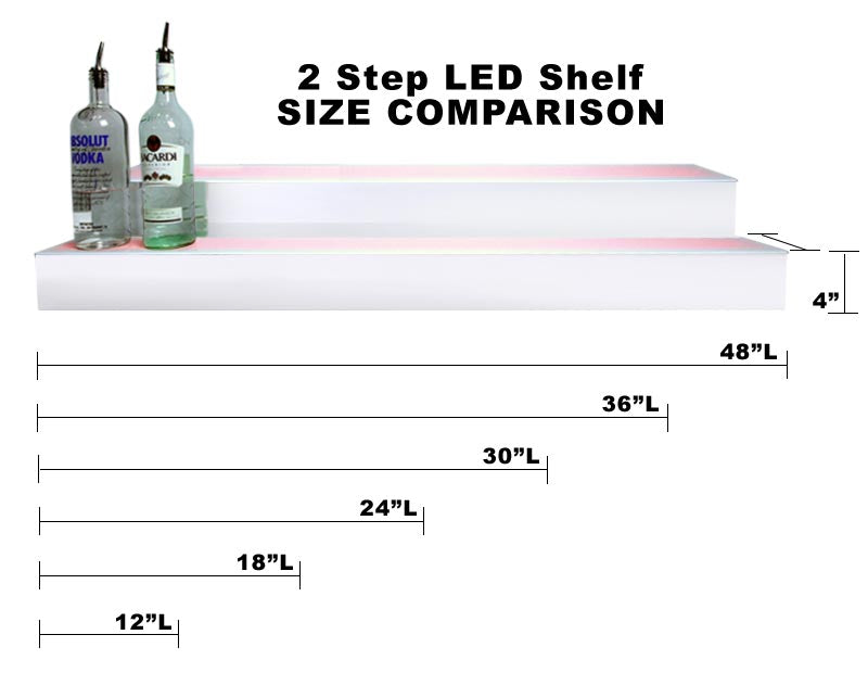 BarConic® LED Liquor Bottle Display Shelf - 2 Steps - Polished Mirrored Metal - Several Lengths