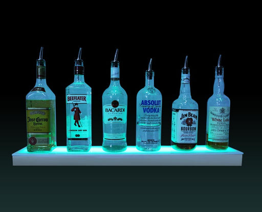 BarConic® LED Liquor Bottle Display Shelf - Low Profile - 1 Step - Polished Mirrored Metal - Several Lengths