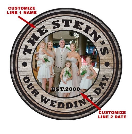 "Custom Wood Barrel Top - WEDDING -18"" Diameter"
