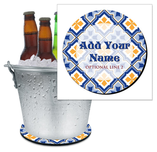 ADD YOUR NAME - Beer Bucket Coaster - Spanish Tile Pattern
