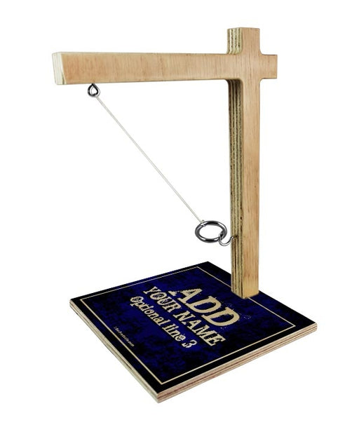 ADD YOUR NAME Tabletop Ring Toss Game - Blue Grunge
