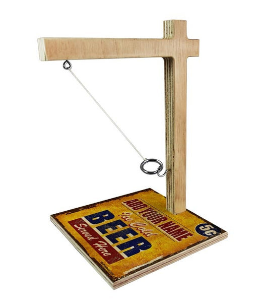 ADD YOUR NAME Tabletop Ring Toss Game - Ice Cold Beer