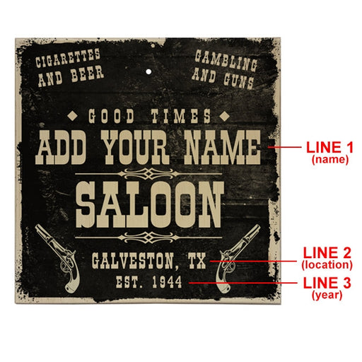 ADD YOUR NAME Tabletop Ring Toss Game - Saloon
