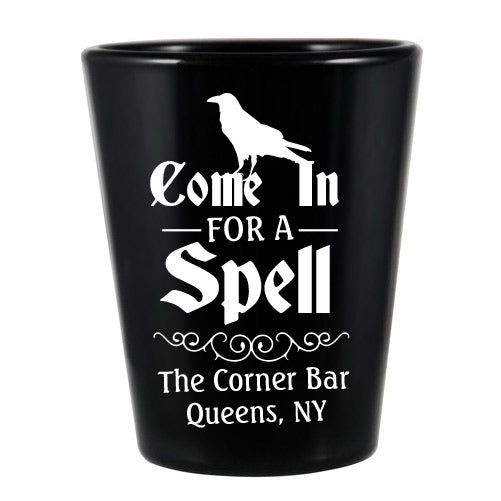 CUSTOMIZABLE - 1.75oz Black Shot Glass - Spell Halloween Design