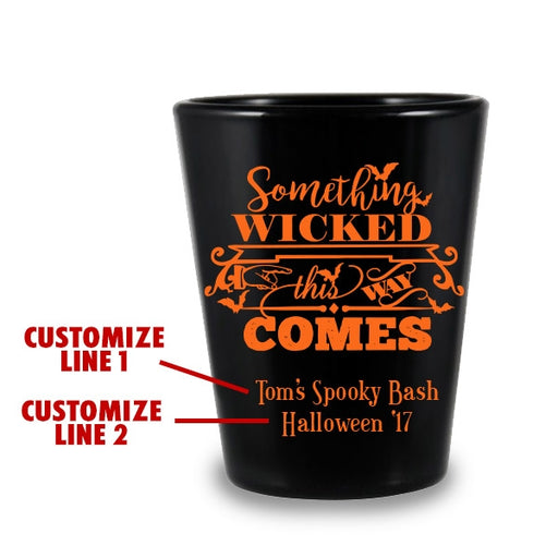 CUSTOMIZABLE - 1.75oz Black Shot Glass - Wicked Halloween Design