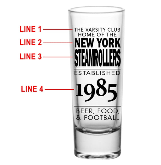 CUSTOMIZABLE - 2oz Tall Clear Shot Glass - Football