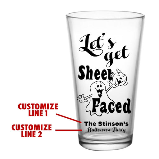 CUSTOMIZABLE - 16oz Pint / Mixing Glass - Sheet Faced Halloween Design