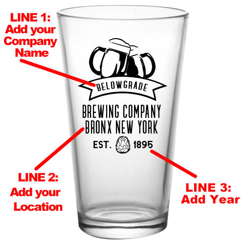 CUSTOMIZABLE - 16oz Pint / Mixing Glass- Brew1