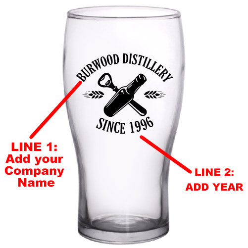 CUSTOMIZABLE - 20oz Imperial Pub Glass- Distillery