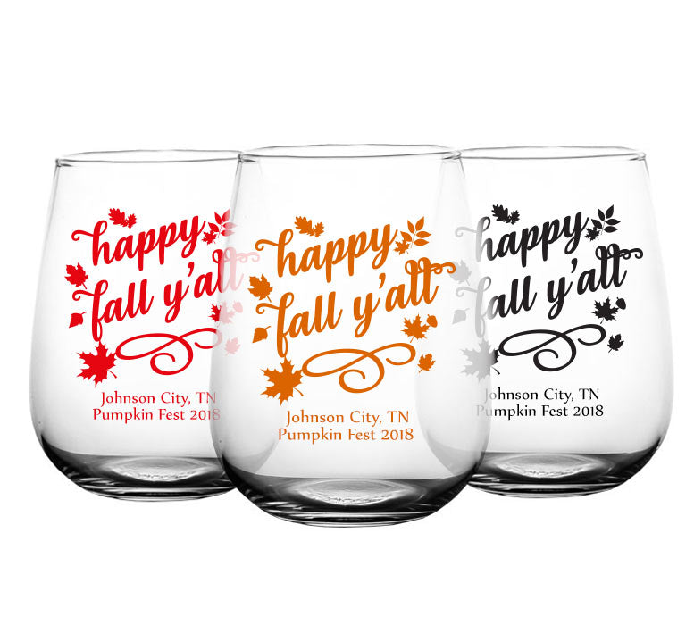 CUSTOMIZABLE - Stemless Wine Glass - 17 ounce - Happy Fall Y'all
