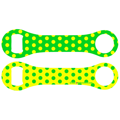 Kolorcoat™ Dog Bone Bottle Opener - Green and Yellow Polka Dots