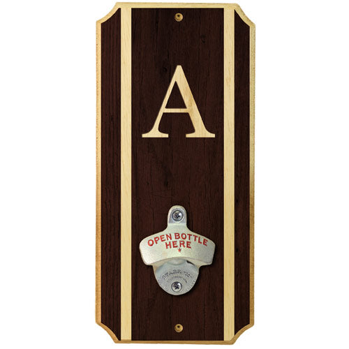 Monogrammed - Wall Mounted Wood Plaque Bottle Opener