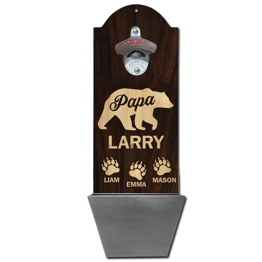 Custom Round Top Plaque with Cap Catcher - Papa Bear