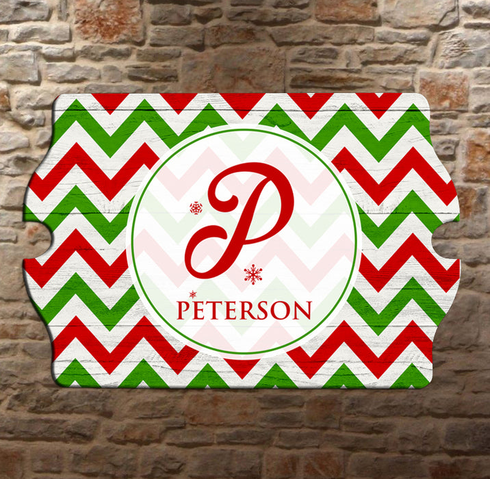 Custom Tavern Shaped Wood Bar Sign - Holiday Monogram