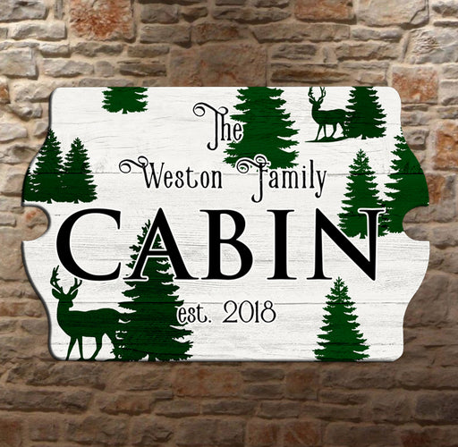 Custom Tavern Shaped Wood Bar Sign - Cabin