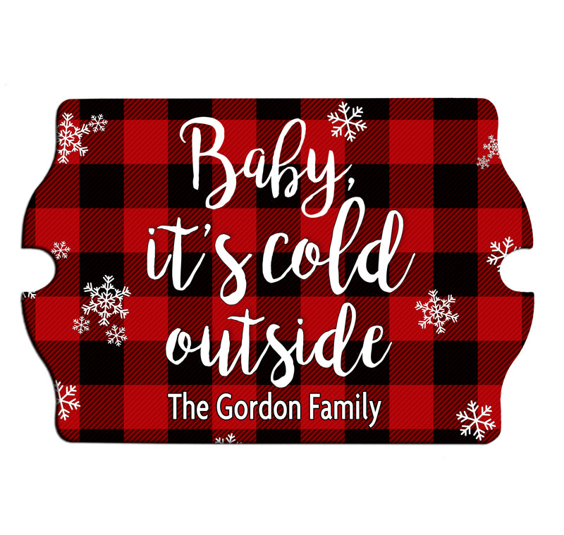 Custom Tavern Shaped Wood Bar Sign - Cold Outside