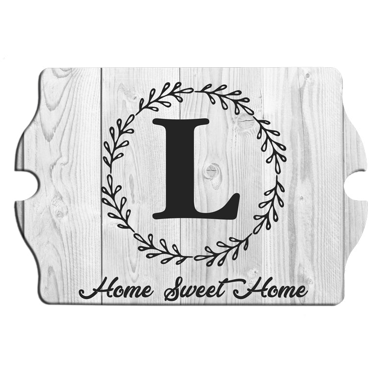 Custom Tavern Shaped Wood Bar Sign - Whitewash Monogram