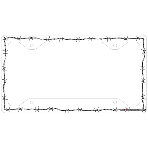 License Plate Frame - White Barbed Wire