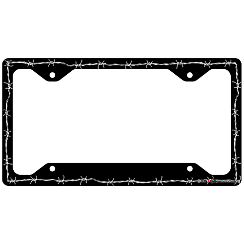 License Plate Frame - Black Barbed Wire