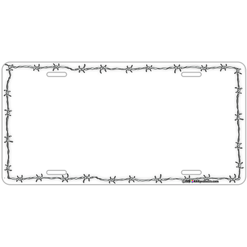 Custom License Plate - White Barbed Wire
