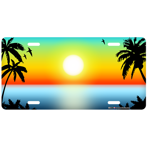 Custom License Plate - Beach Scene