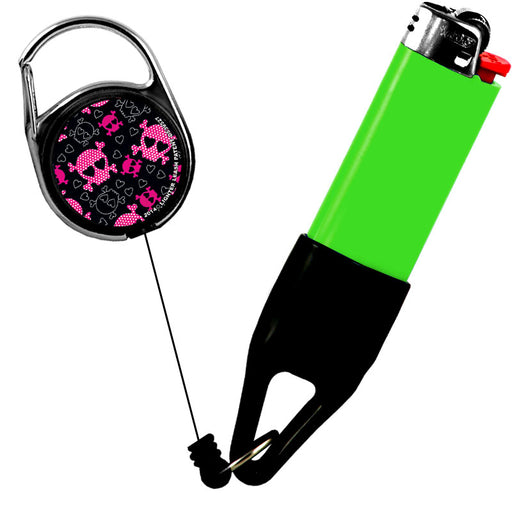 Premium Clip Lighter Leash® - Grunge Pink/ Black - Skulls