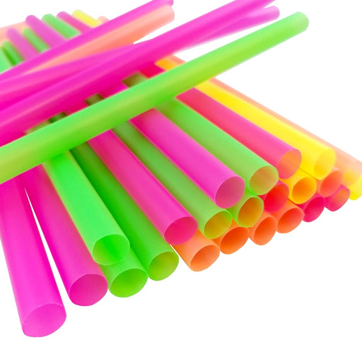 BarConic® Mammoth Straws - Assorted Neon w/ Variable Lengths - Packs of 200