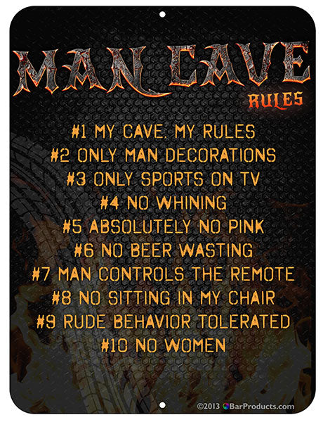 Man Cave Rules Bar Sign