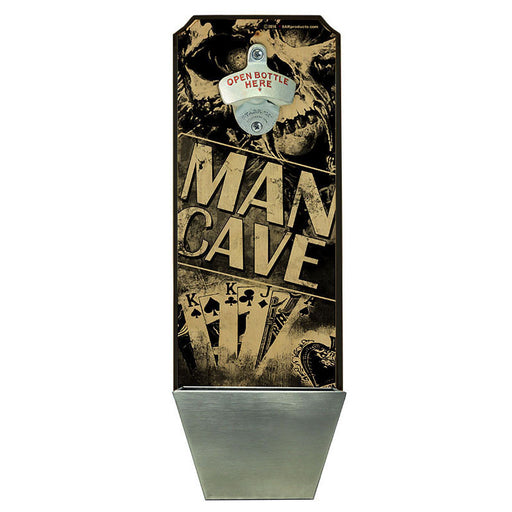 Man Cave – Wall Mounted Wood Plaque Bottle Opener and Cap Catcher