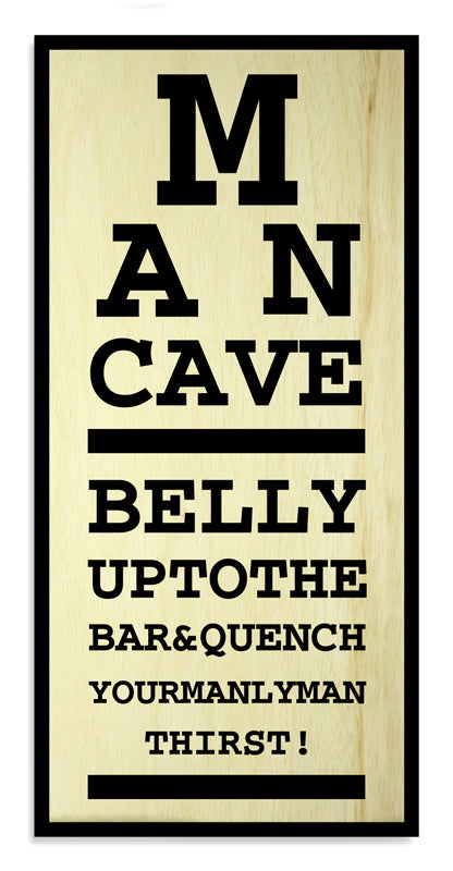 "Man Cave Eye Chart– Large (11"" x 23"") Kolorcoat™ Wood Bar Sign"