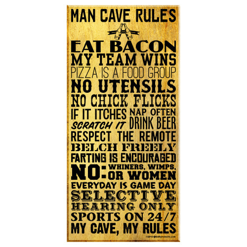 "Man Cave Rules – Large (11"" x 23"") Kolorcoat™ Wood Bar Sign"