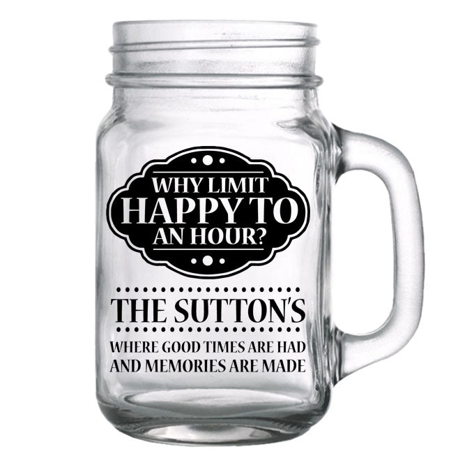 CUSTOMIZABLE - 16oz Mason Jar with Handle - Happy Hour