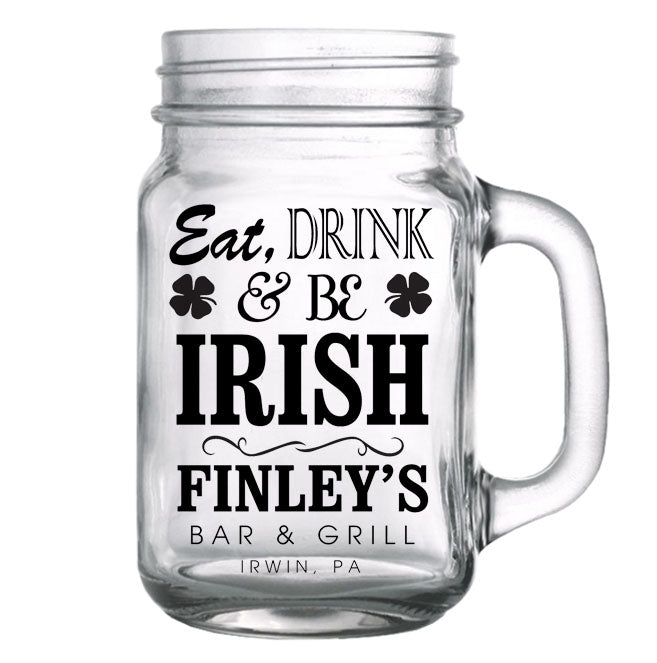 CUSTOMIZABLE - 16oz Mason Jar with Handle - Irish