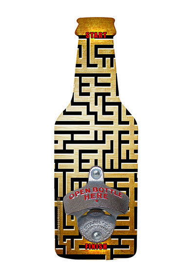 MAZE GAME Wooded Beer Shaped Wall Bottle Opener