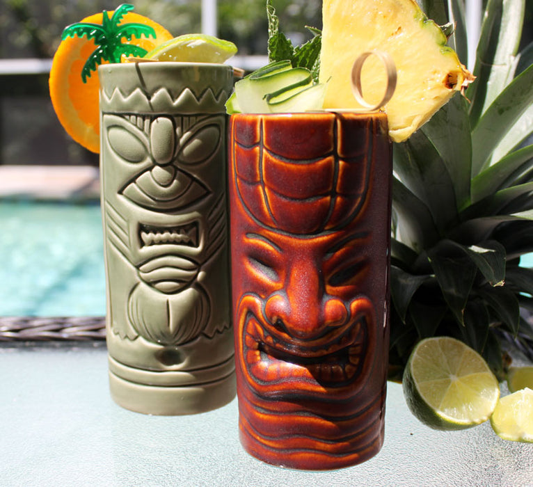 BarConic® Tiki Drinkware - Ceramic Mean Green Mug - 11 ounce