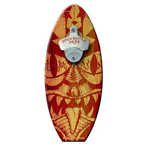 Mean Tiki - Wooden Surfboard Wall Mounted Bottle Opener