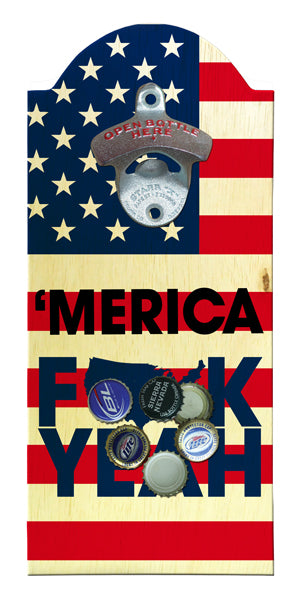 'Merica Wooden Bottle Opener with Magnetic Cap Catcher